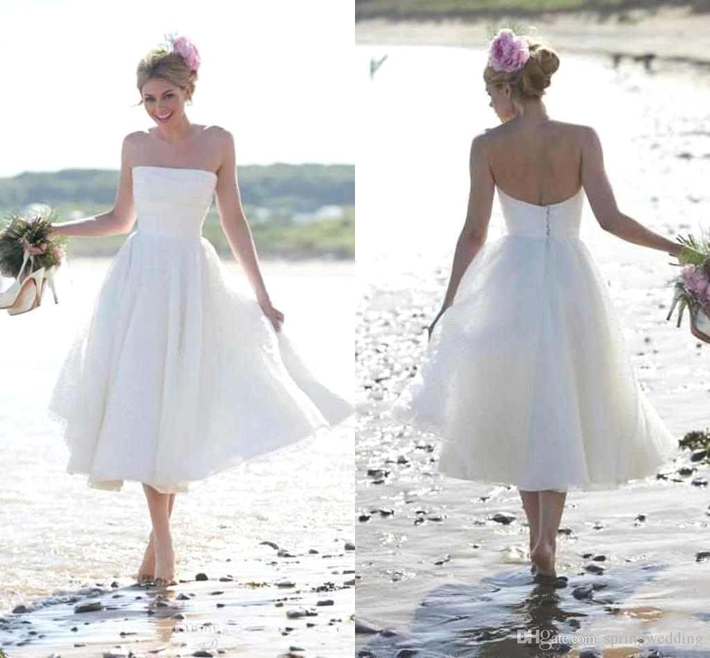 2016 New Summer Beach Wedding Dress Short Strapless Tea