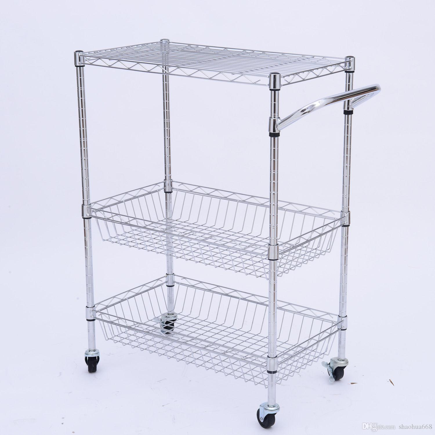 Kitchen Trolley 2017 3 Tier Steel Kitchen Trolley Cart Island Wire Rack 2 Basket