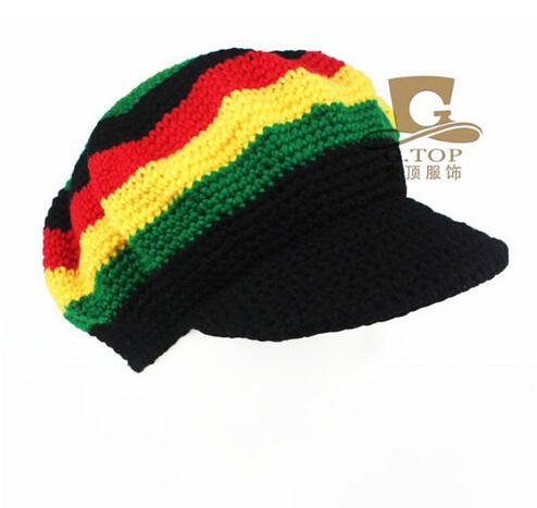 Knitting Pattern For Rasta Hat : Rasta Hat Beanies Knit Hats Beret Crochet Slouchy Tam Reggae Jamaica Style Vi...