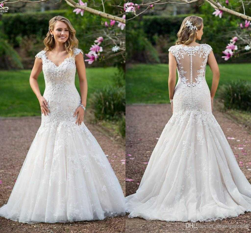 2017 Country Wedding Dresses Mermaid Lace Applique Short