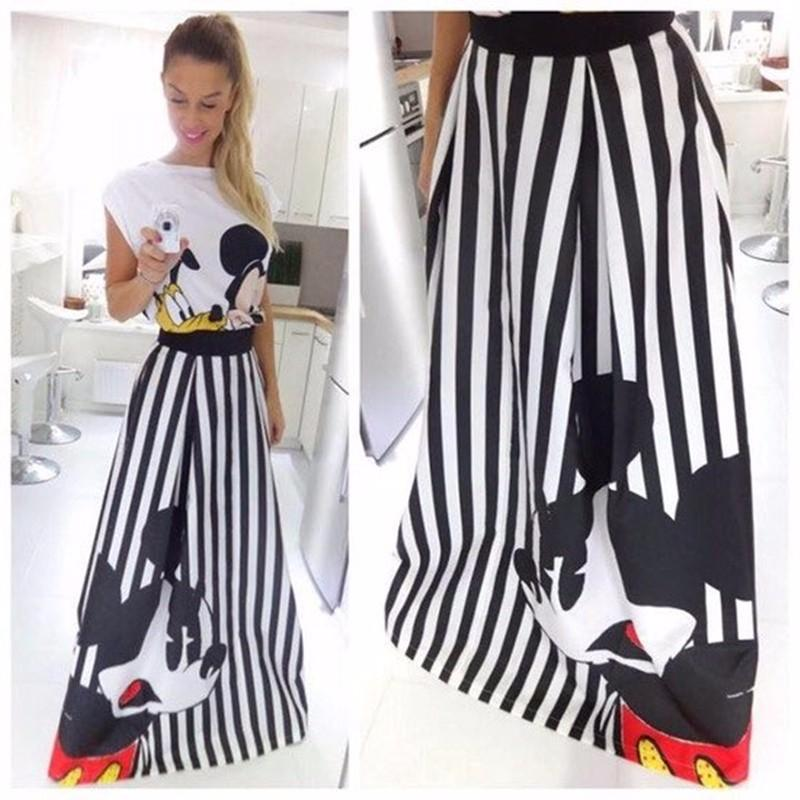 2017 Mickey Printed Long Striped Skirts Female Skirt High Waist ...
