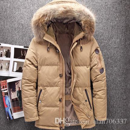 Winter Big Genuine Fur Hood Duck Down Jackets Men Warm High ...