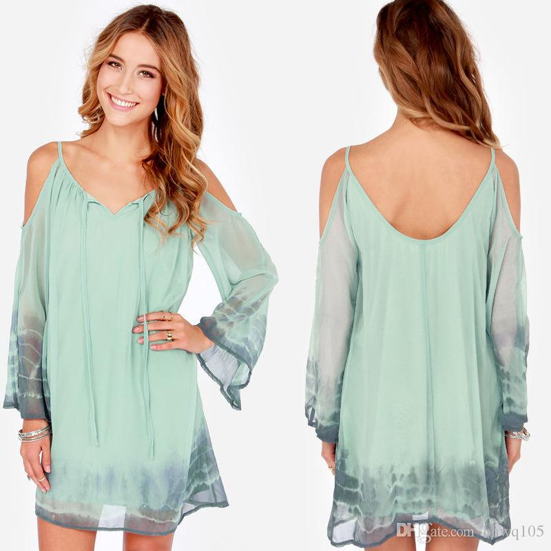 Summer Mini robe de mousseline de soie Beach Cover Up robes froide épaule Bell L