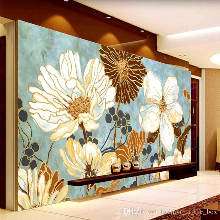 Vintage 3d wallpaper painting flowers wall murals custom for Classic mural painting