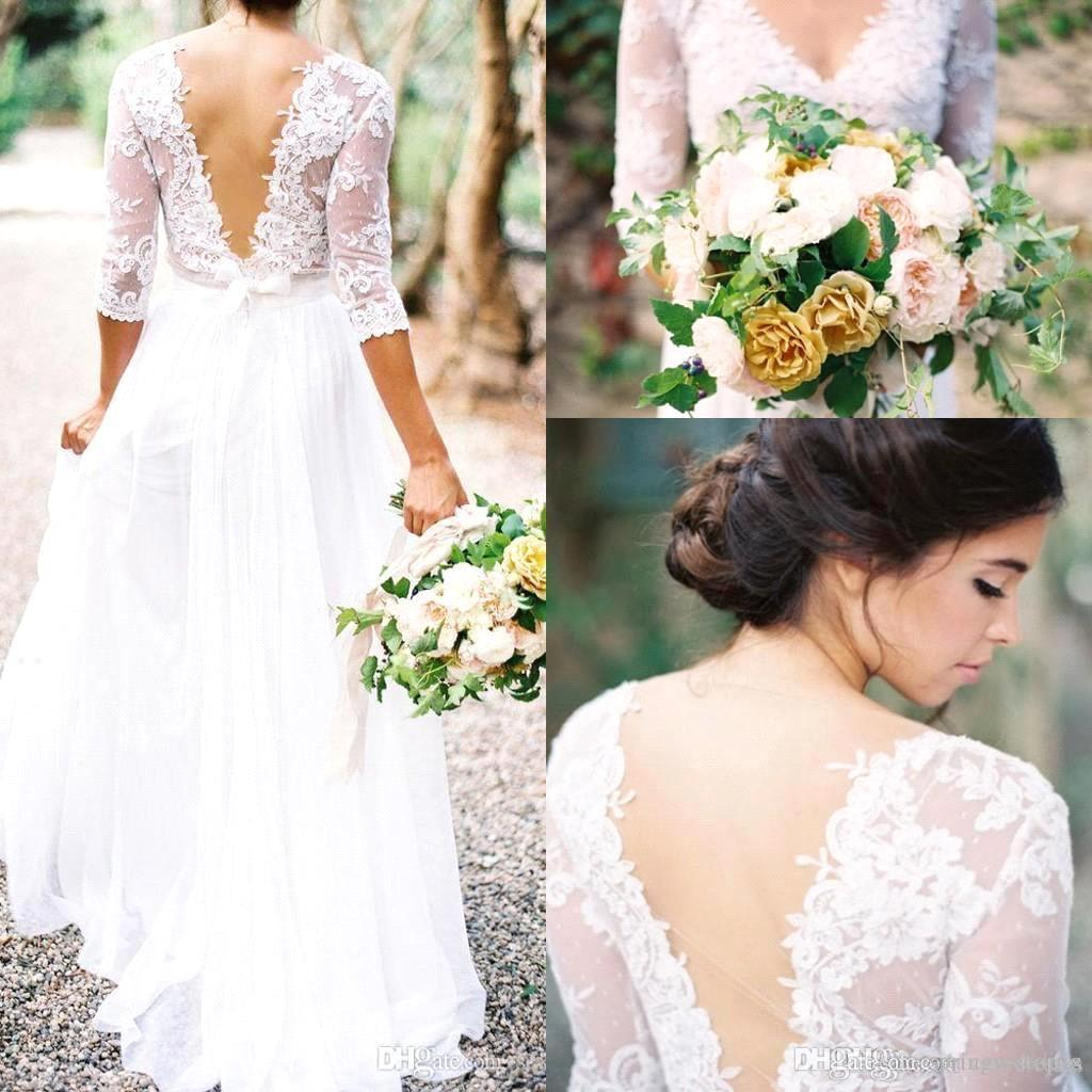 2016 new bohemian lace wedding dresses a line v-neck 3/4 long