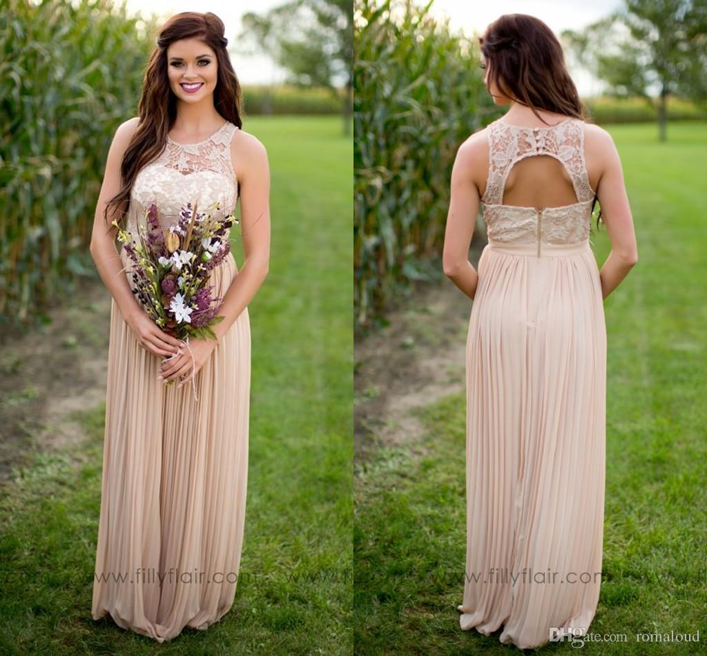 New Fashion 2017 Country Bridesmaid Dresses Lace A Line