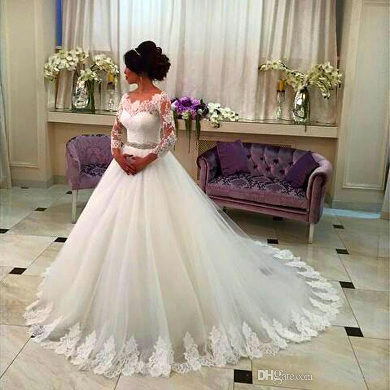 Discount 2017 lace wedding dresses three quarter sleeve for Custom made wedding dresses nyc