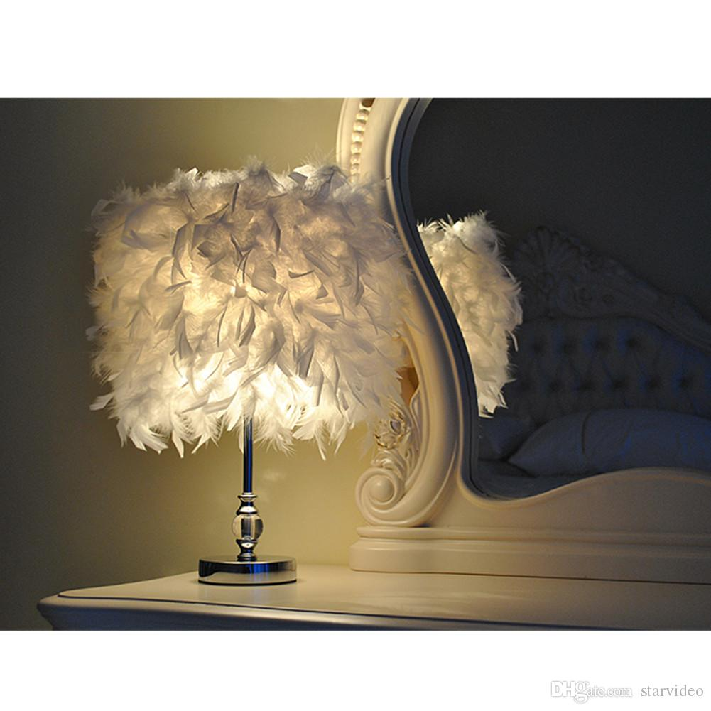 Creative new bedroom led light feather lamp button switch button creative new bedroom led light feather lamp button switch button led table lamp wedding desk lamp with 1 led bulb 3w dia 30c touch table lamps led desk lamp geotapseo Gallery