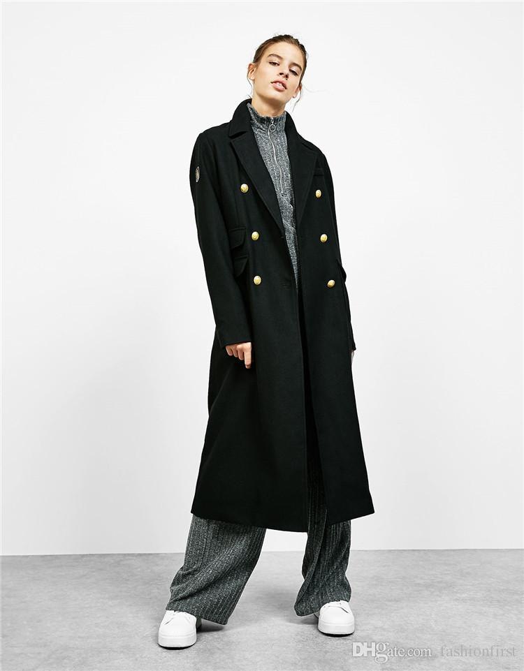 Chic Fashion Female Long Sleeve Outwear Military Wool Super Long ...