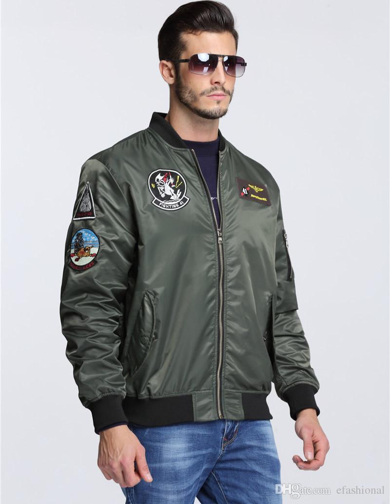 Menu0026#39;S Patches Top Gun Military Army Green Letterman Air Force Windbreak Jacket Pilot Bomber ...