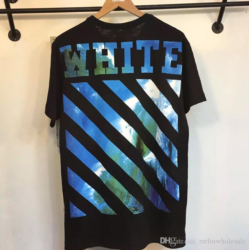 2017 Wholesale Clothing Off Men's T-Shirts White Blue Waves ...