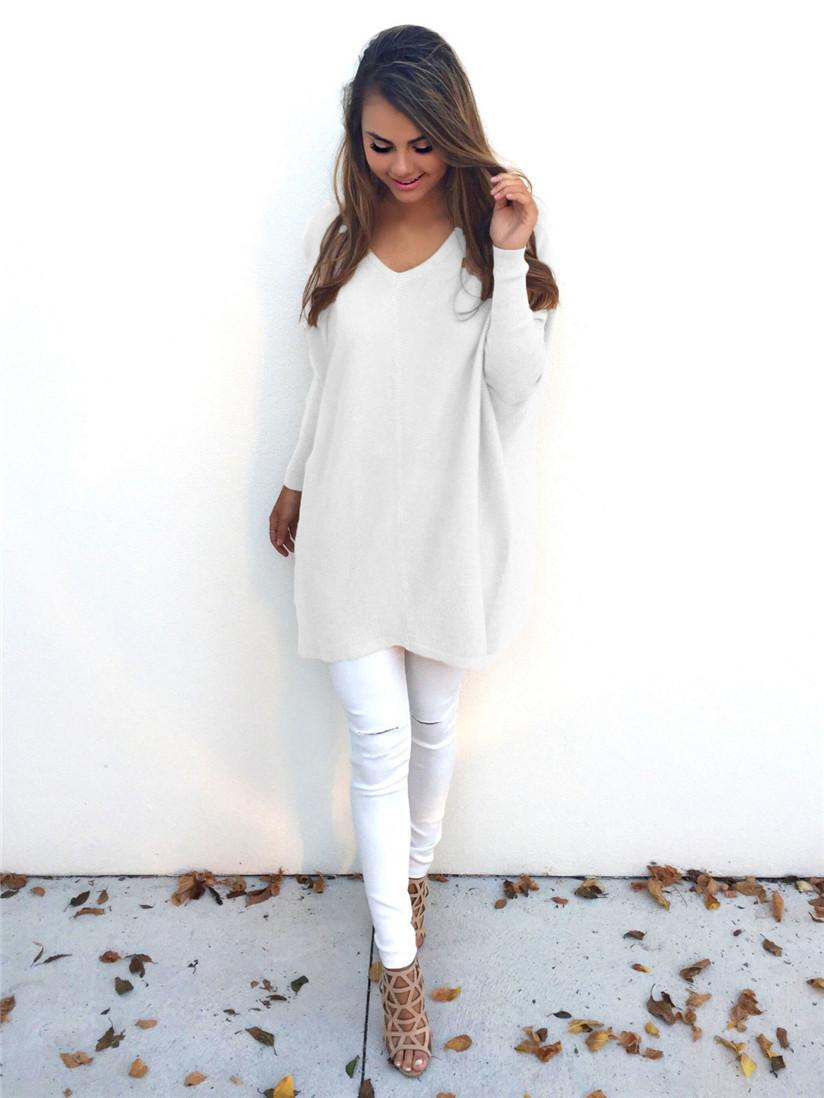 Wholesale- Hot Women Winter White Sweater Long Sleeve Loose ...