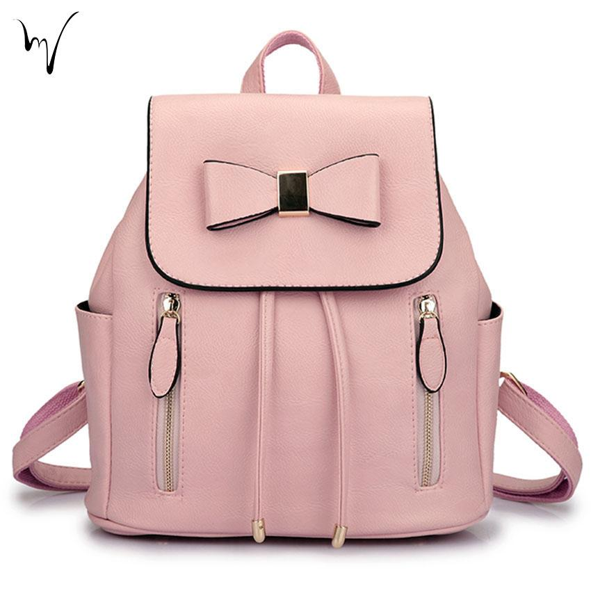 Bow Large Woman Litchi Backpacks Chic String Comfort College ...