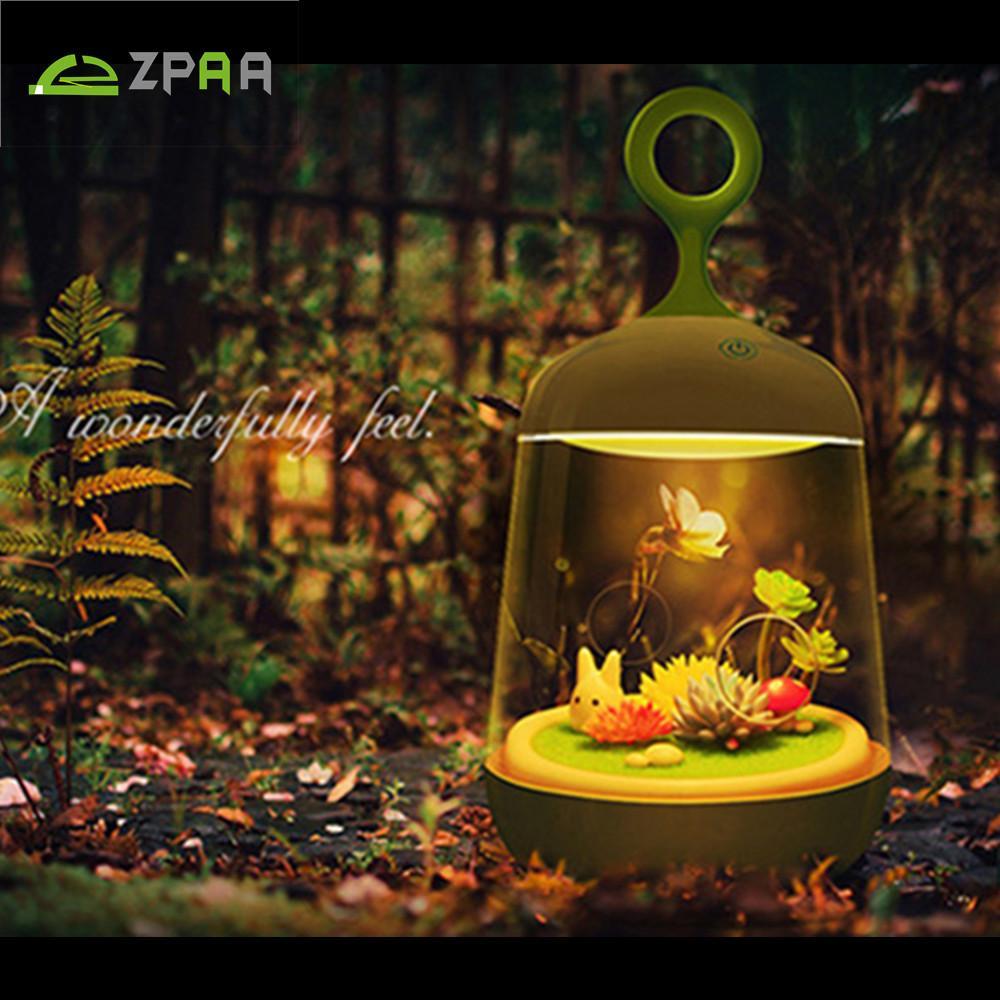 ZPAA Plant DIY Baby Bedside LED Desk Lamp Rechargeable LED RGB ... for Diy Sleep Lamp  143gtk