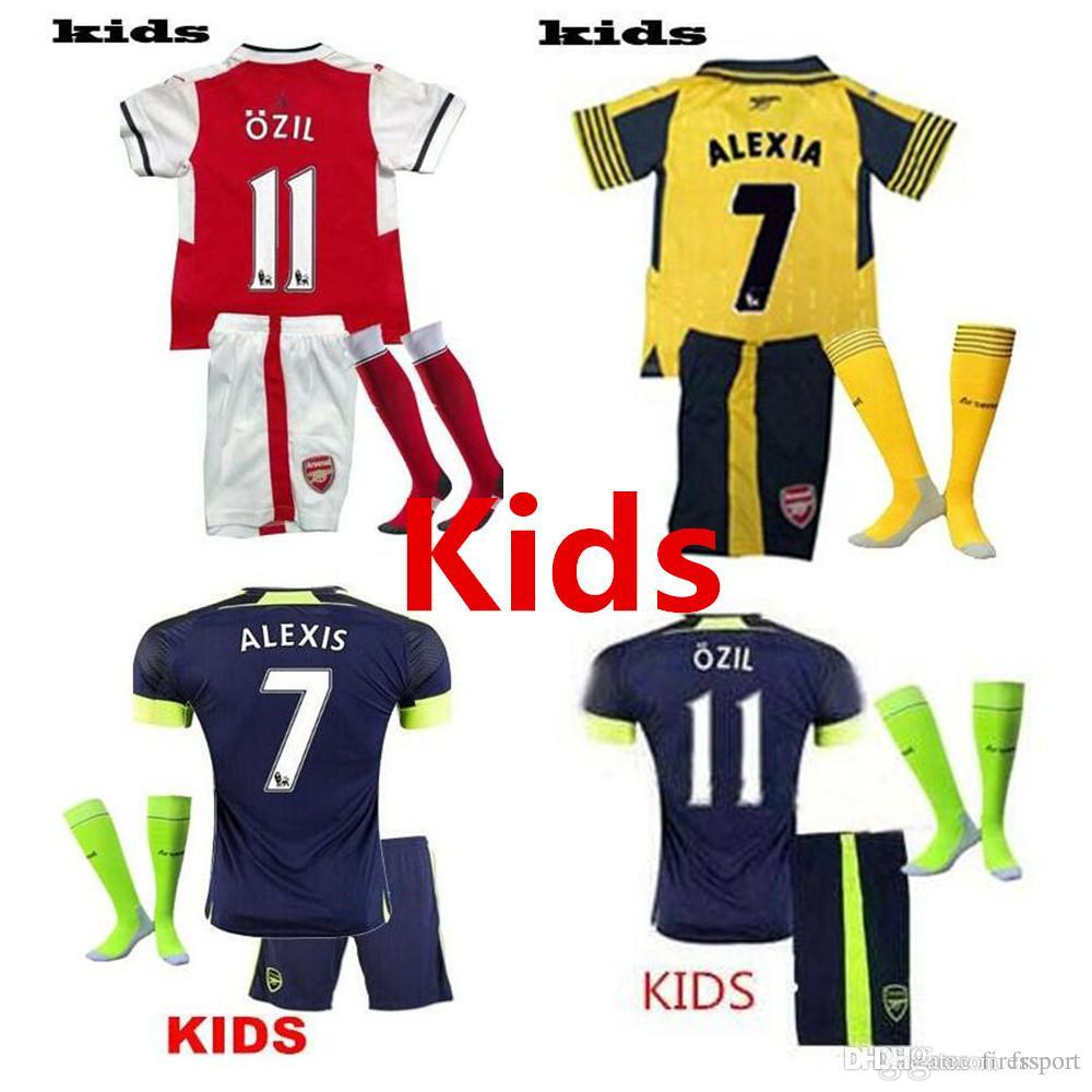 A +++ 2016 2017 enfants Arsenals Soccer Jerseys Away Yellow OZIL Football kit +