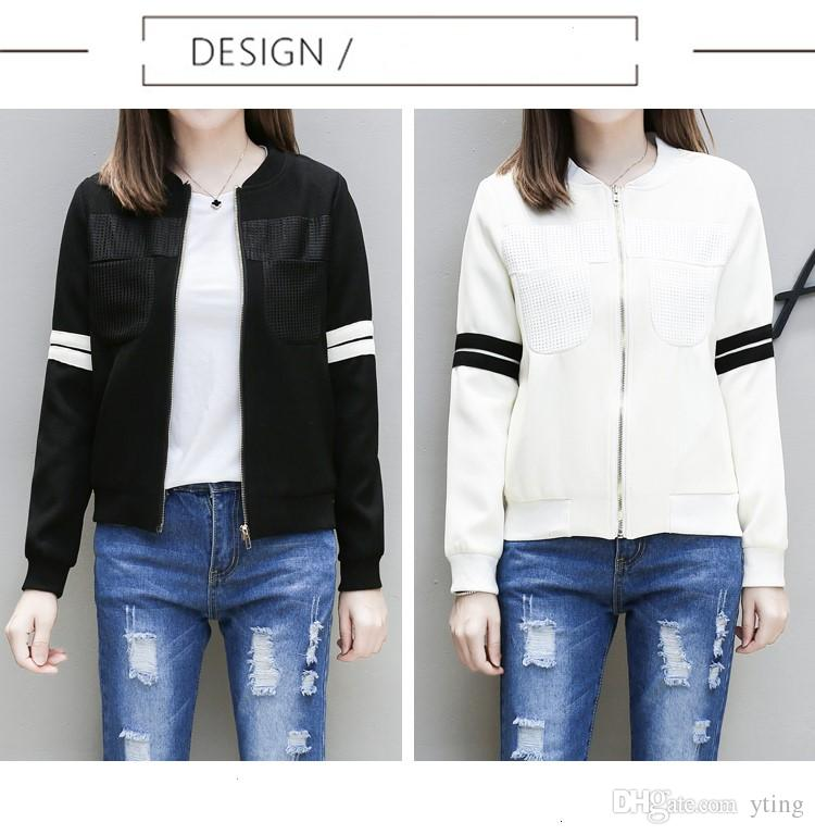 2017 Autumn Spring Ladies Jackets Tops Solid Color Zipper Baseball ...