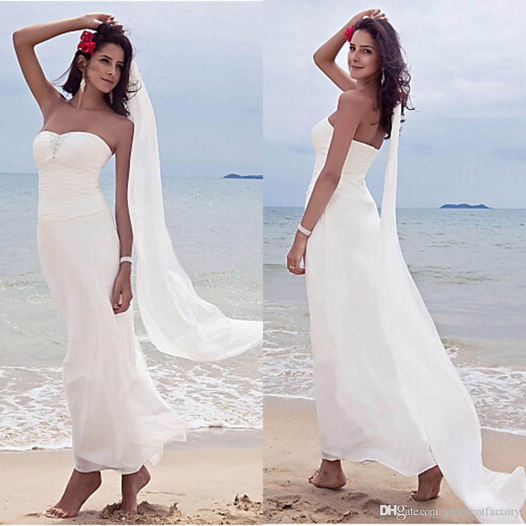 2017 latest beach wedding dresses sheath sweetheart for Beach wedding dresses ankle length
