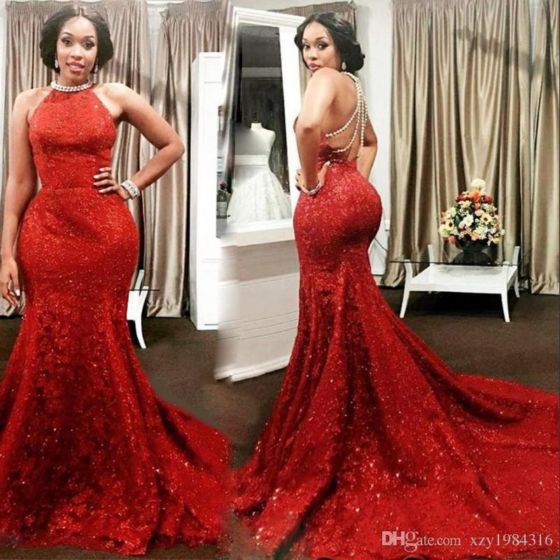 Red Lace Mermaid Prom Dresses Jewel Neck Sequins Sleeveless Luxury ...