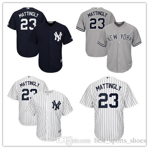 cbbe632218d New 23 Don Mattingly Jersey York Yankees Baseball Jerseys 2 Derek Jeter 99  Aaron Judge 24 Mens ...