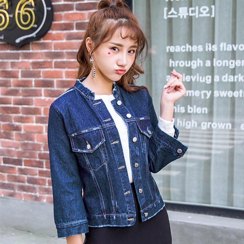 Brand Slim Fall Winter Woman Denim Jacket Blue Shorts Jeans Jacket ...