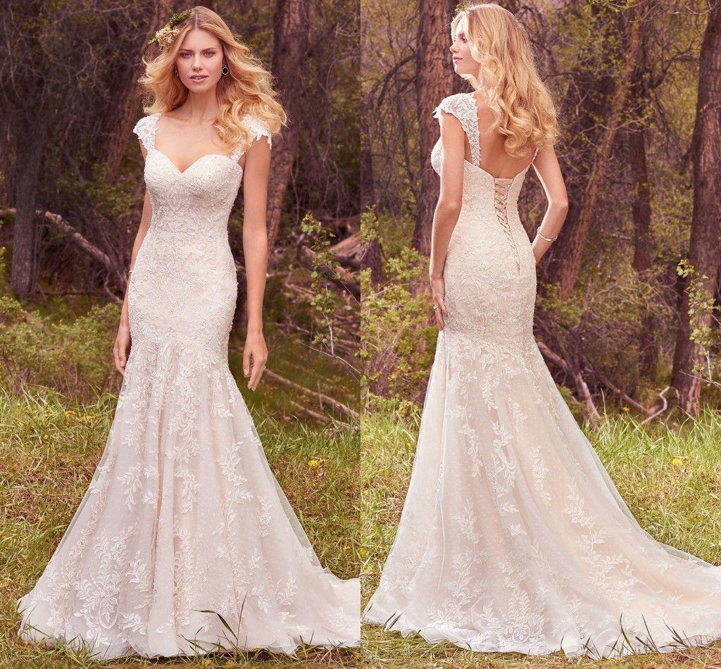 2017 boho lace mermaid wedding dresses straps sweetheart for Bohemian mermaid wedding dress