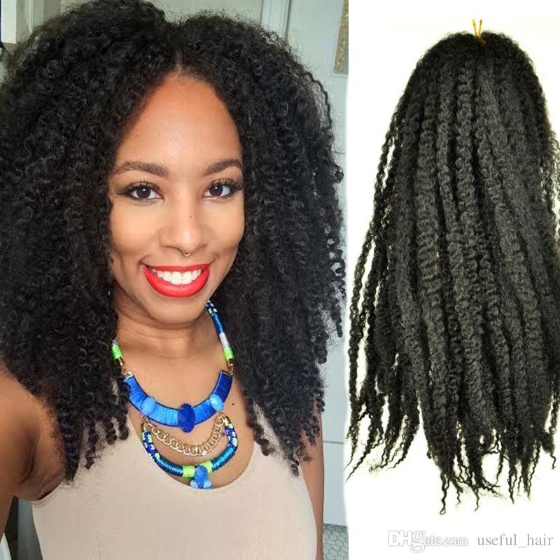 18 Afro Kinky Marley Braid Curly Hair Extension 100 Grams