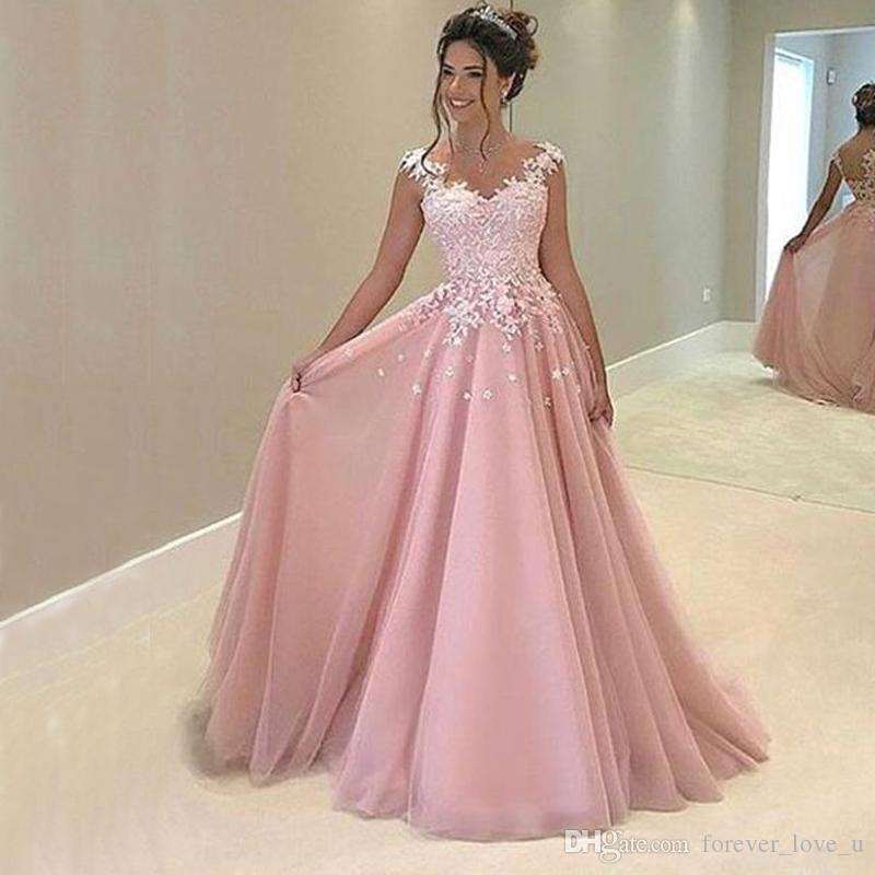 Stunning Prom Dress Long Blush Pink Evening Party Gowns A