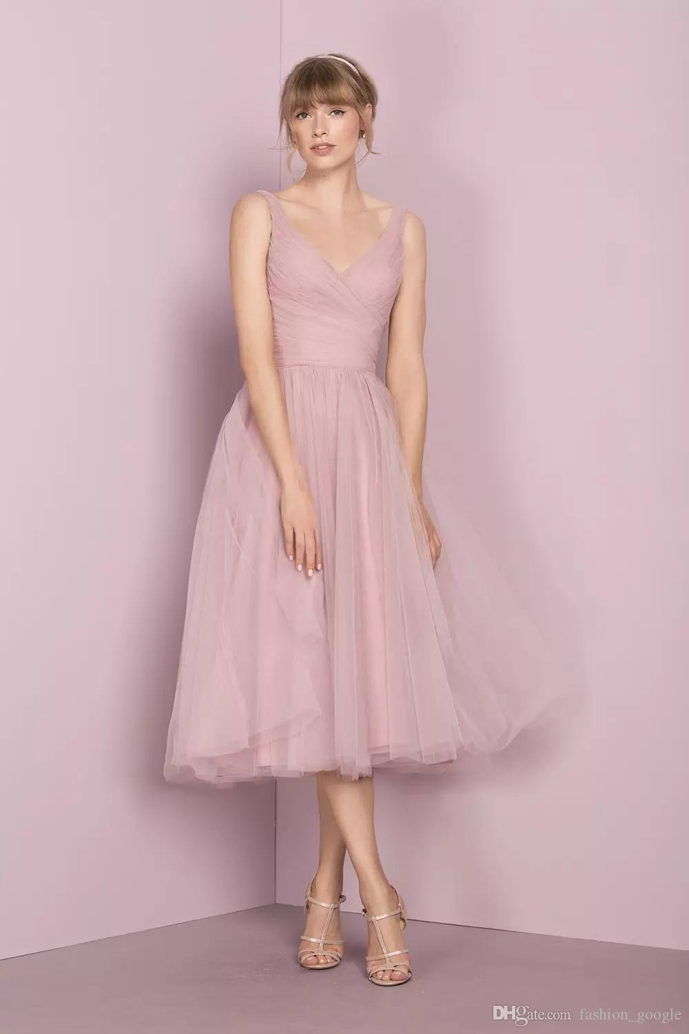 In Stock Tea Length 1950s Bridesmaid Dresses 2017 Vintage with V ...