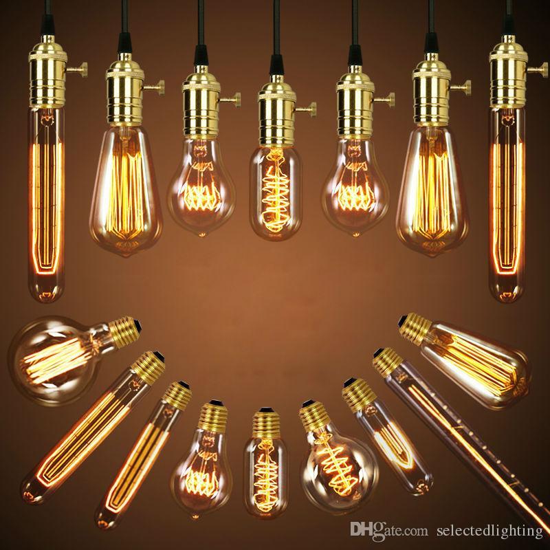 40w retro lamp edison bulb st64 vintage socket diy rope pendant e27 bulb 220v 110v holiday lights filament lamp lampada edison bulbs lighting