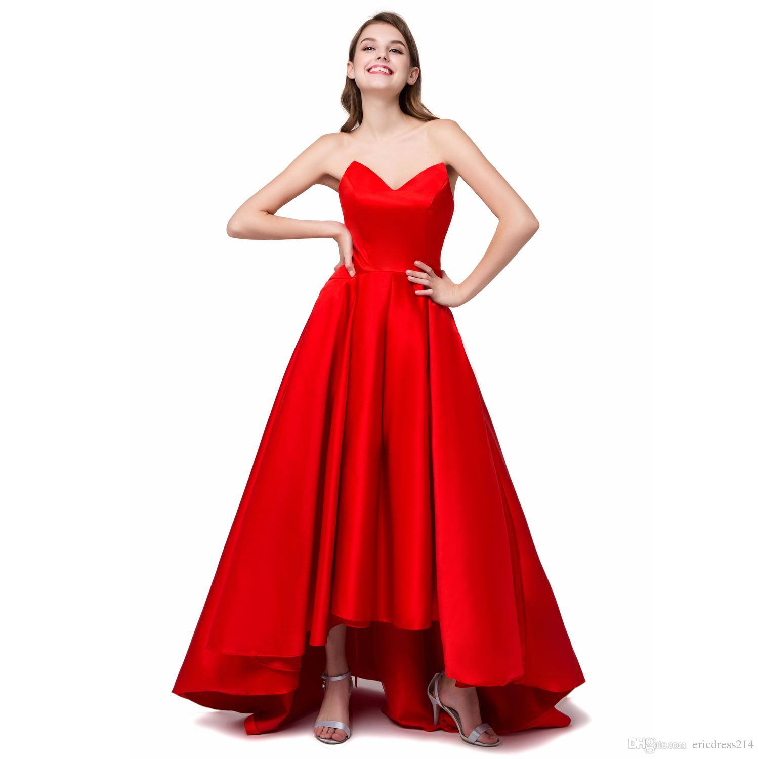 2017 new cheap formal high low bridesmaid dresses satin v neck a 2017 new cheap formal high low bridesmaid dresses satin v neck a line party gowns wedding prom dresses stock size 6 8 10 12 14 16 high low bridesmaid ombrellifo Gallery