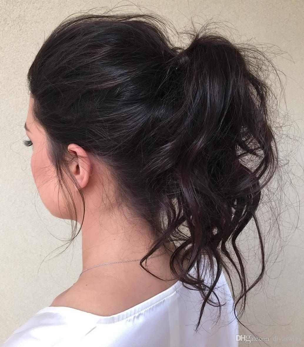 Woman Messy Hairstyle Ponytail Virgin Human Remy Hair Puff