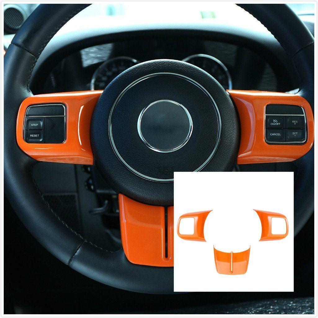 New Orange Abs Interior Decoration Trim Kit With Logo For Jeep Wrangler Cab 4 Door 2011 2012
