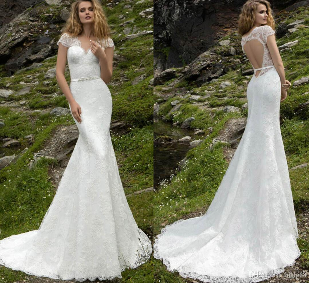 New Arrival Lace y Mermaid Wedding Dresses Cap Sleeve V
