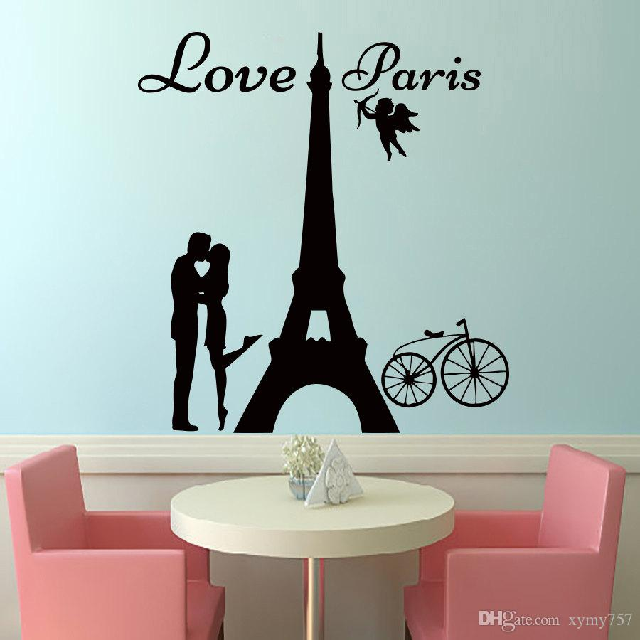 Bike stickers design online - 2017 Hot Sale Angels Love Paris Wall Decals Lover Kissing And Bike Removable Home Decor Wall Art Sticker Diy