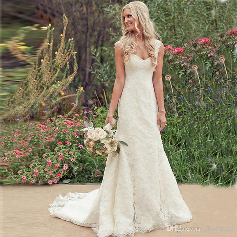 Full Lace Wedding Dresses 2017 Cap Sleeve Mermaid Court Train Zipper Charming Bridal Gowns Plain