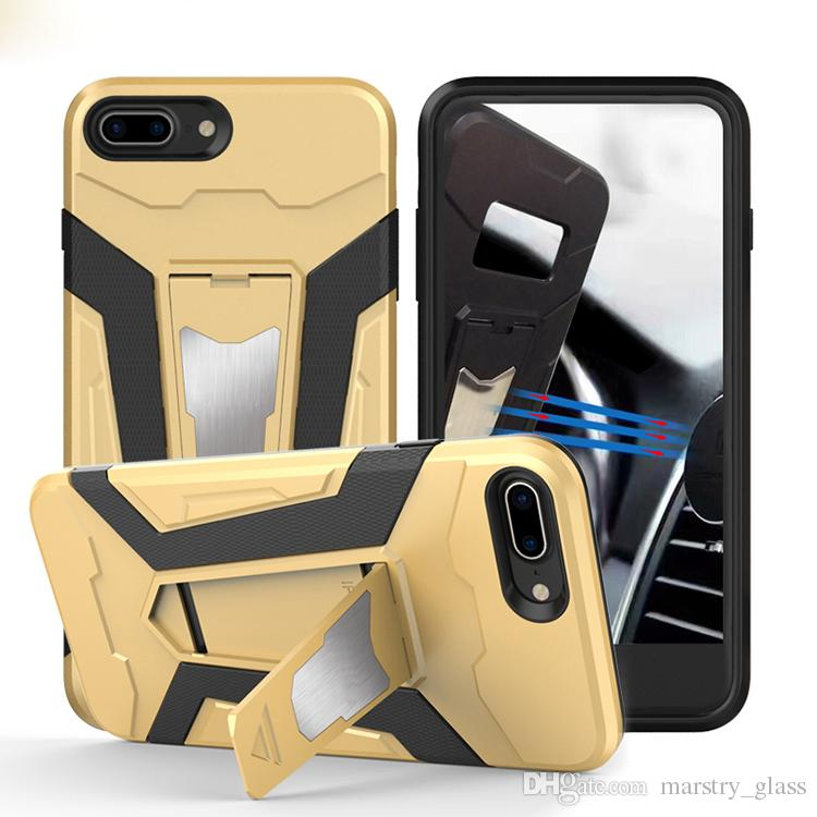 Rugged Armor TPU+PC Hybrid Cases Built-in Magnetic Kickstand Cover iPhone 6 6S 6Plus 7 7Plus Samsung galaxy S7 s7 edge S8 plus