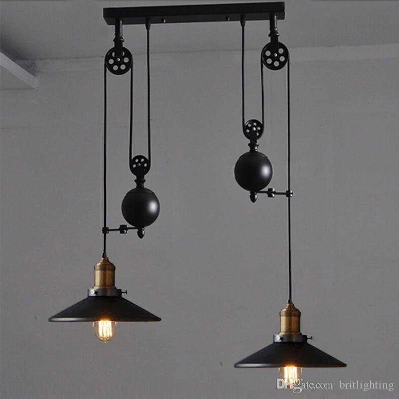 Lights Kitchen Pulley Retro Style Pendant Lamps Rise And Fall Lighting Hanging Lamp Down Up Dining Room