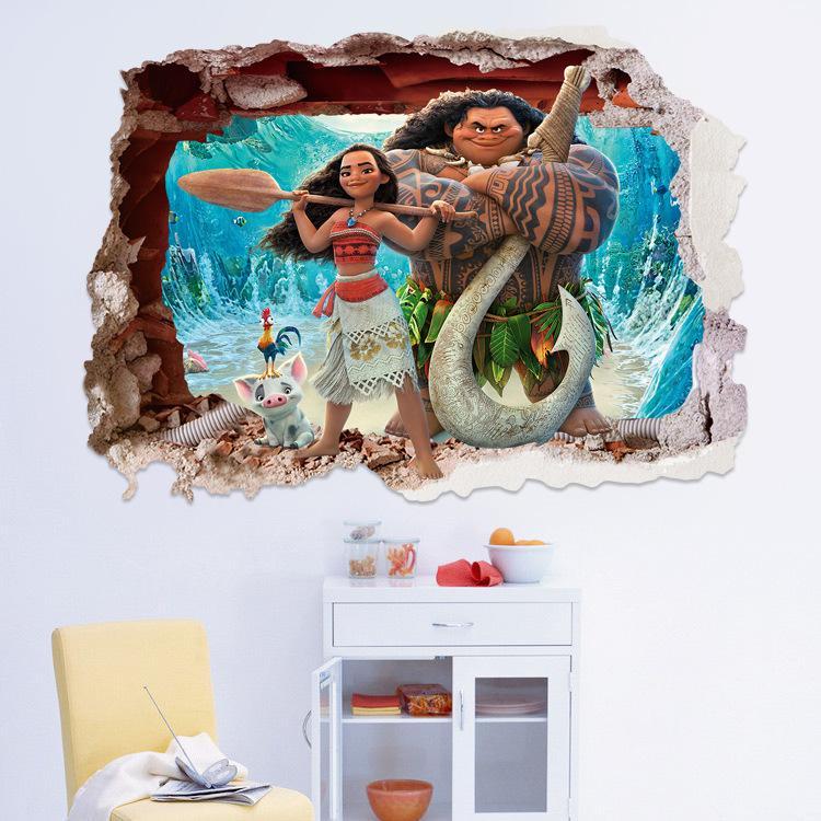 Hot cartoon 3d moana mural decorative painting wall for Cartoon mural painting