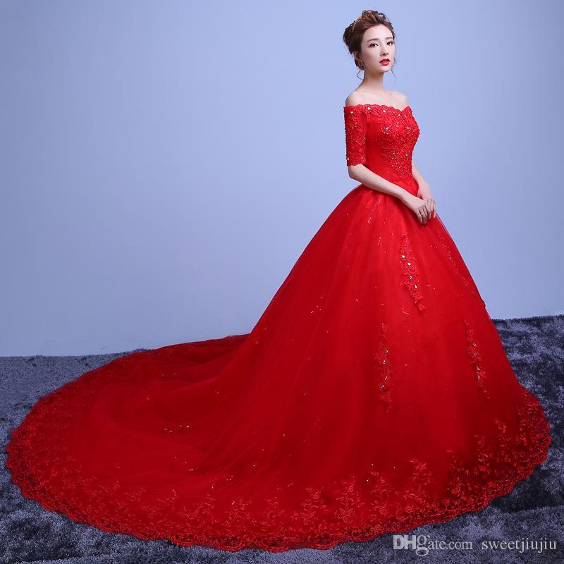 New bride korean high grade lace princess wedding studio for Big red wedding dresses