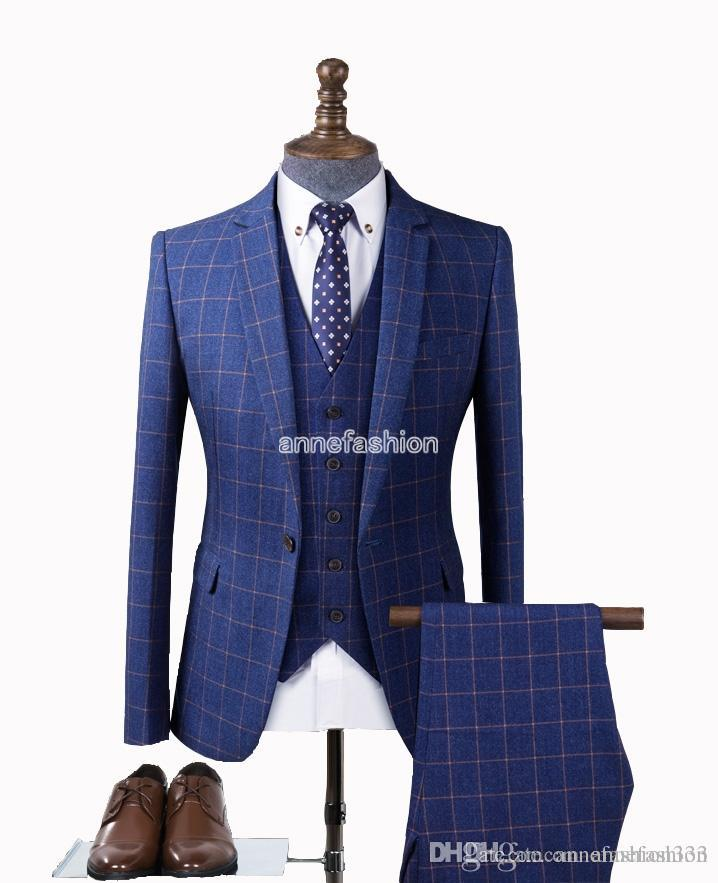Mens Blue Plaid Suits For Wedding Groom Custom Made Classic Men ...