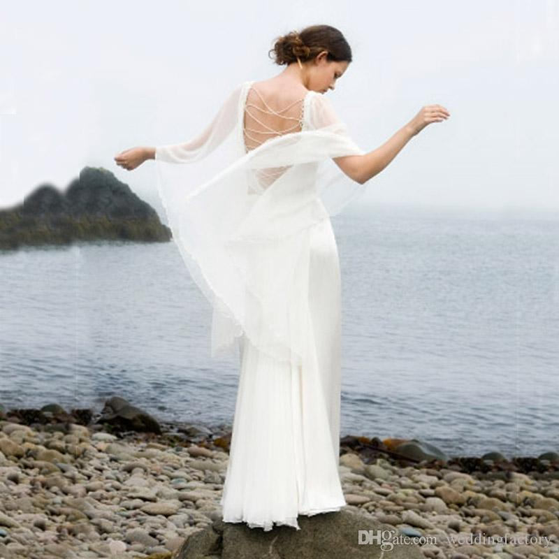 2017 sexy two pieces beach wedding dresses flowing chiffon for Flowing beach wedding dresses