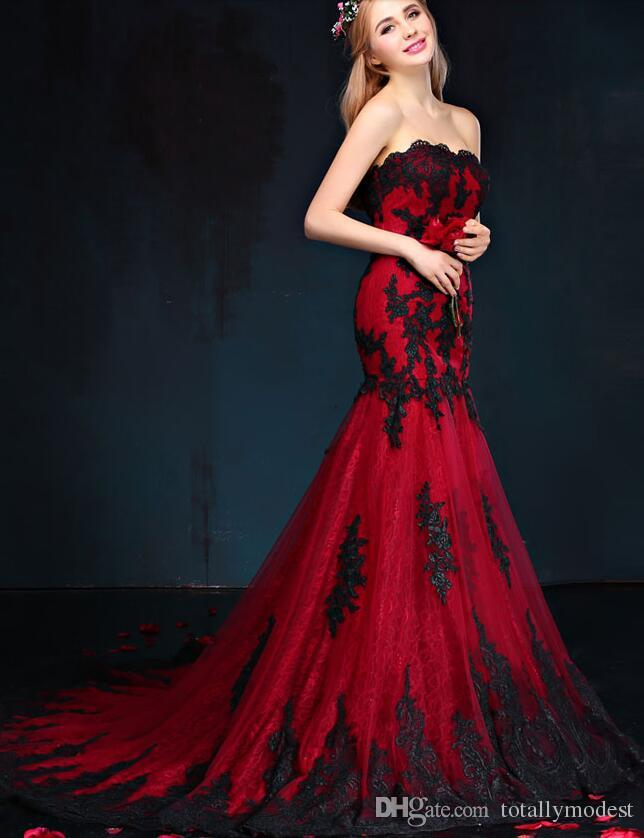 2017 Black And Red Gothic Mermaid Wedding Dresses