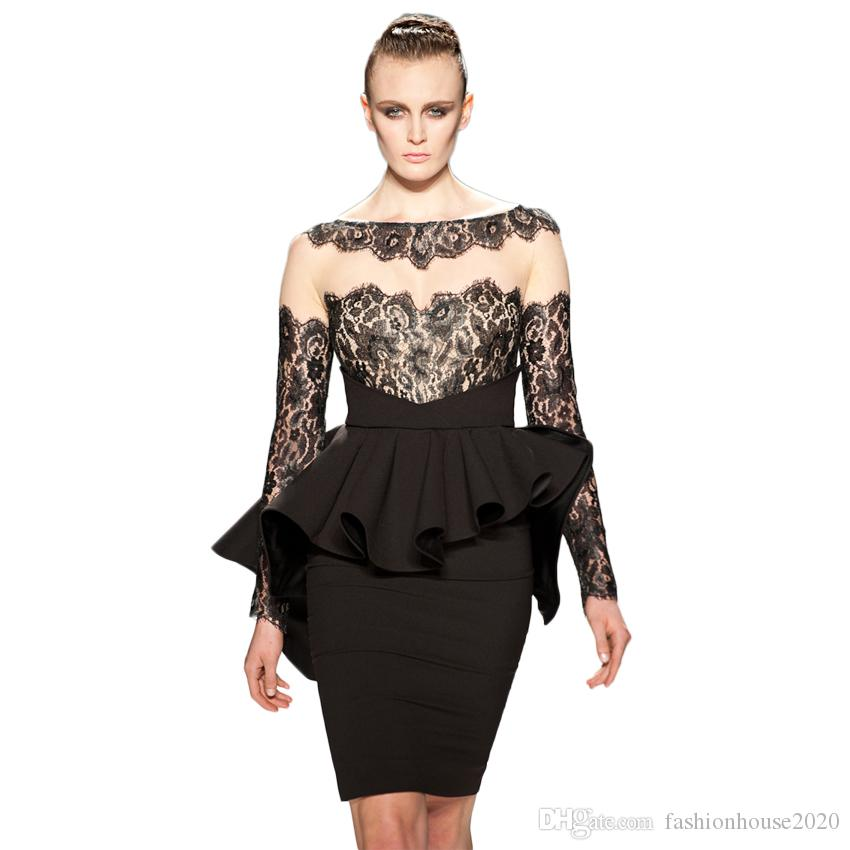 Sexy Little Black Lace Prom Dresses Long Sleeve Scoop Neck Peplum ...