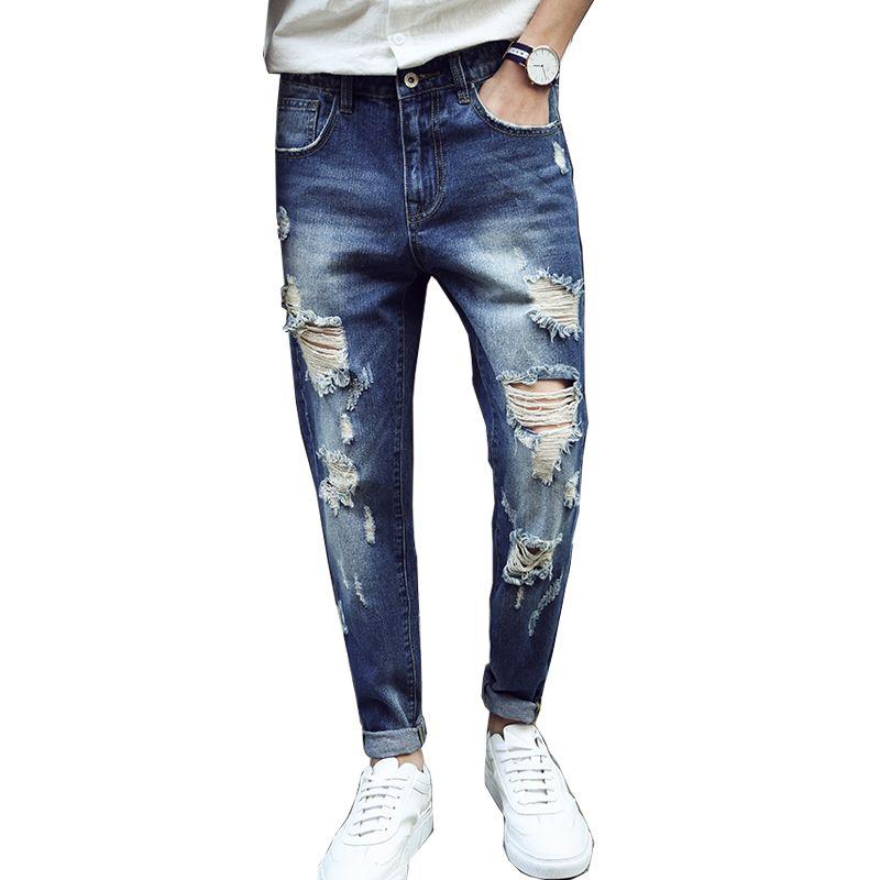2017 wholesale 2017 hip hop men jeans trend ripped biker jeans distressed broken man straight. Black Bedroom Furniture Sets. Home Design Ideas