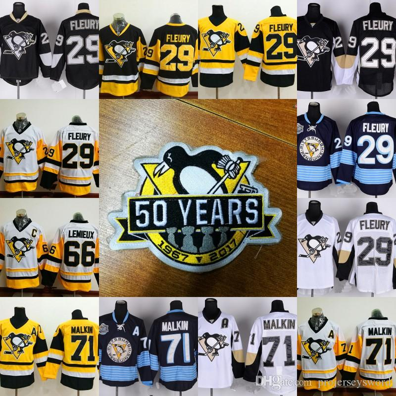 50 Years Patch Pittsburgh Penguins Jersey Hommes 66 Mario Lemieux 71 Evgeni Malk