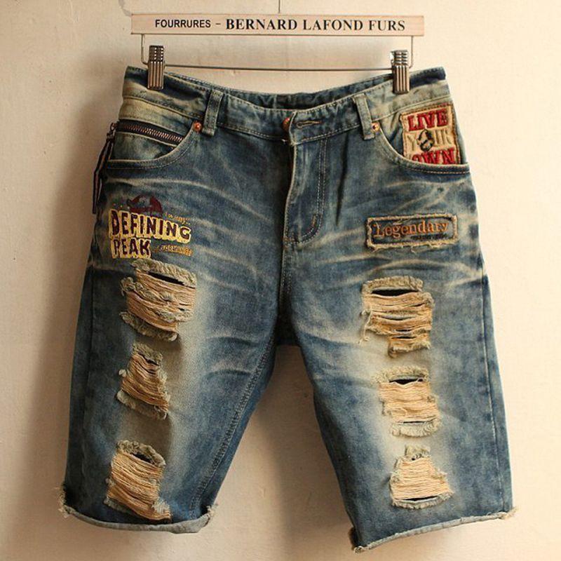 2017 Wholesale 2017 New Fashion Jeans Men Short Summer Hole Denim ...