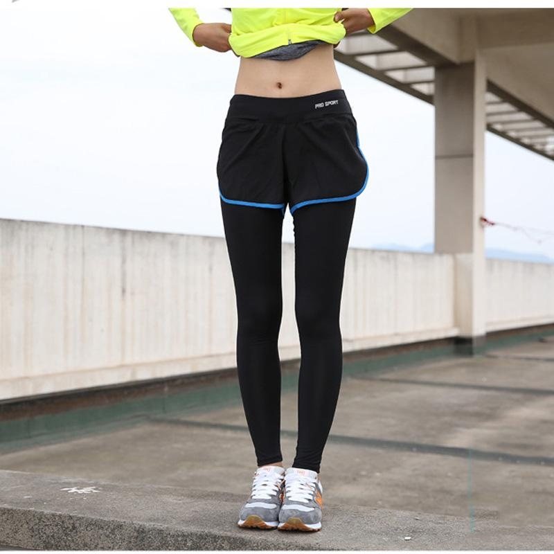 2017 Women Sport Yoga Pants Fake Two Piece Elastic Waist Capri ...