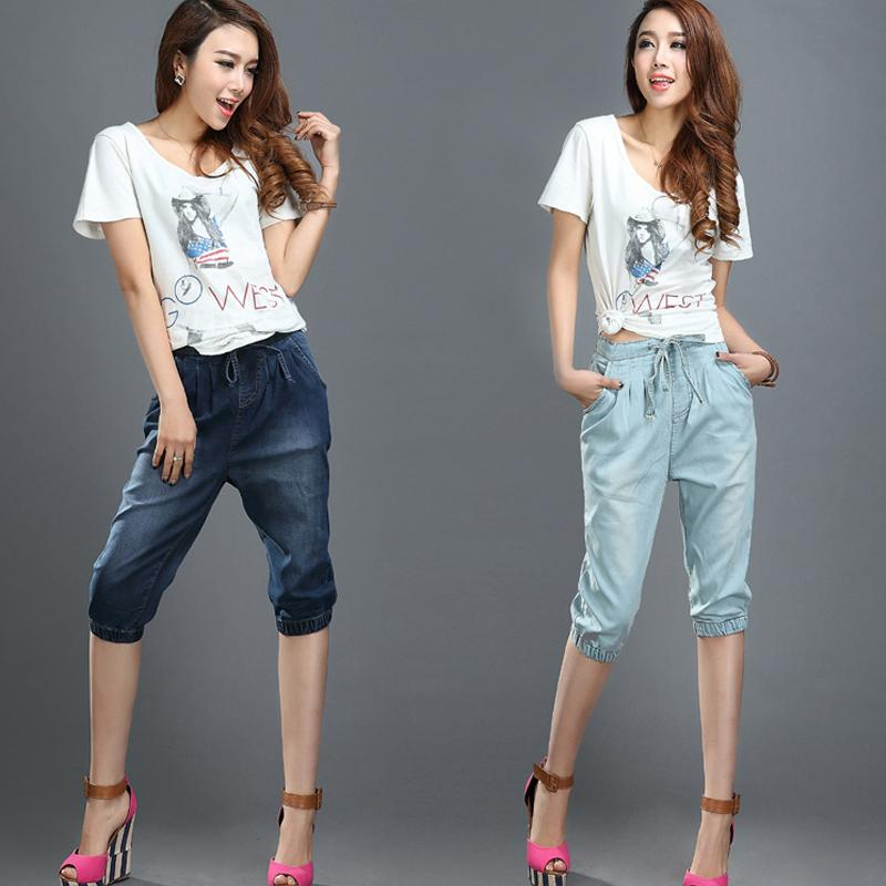 Wholesale- Ladies 3/4 Jeans Elastic Waist Cropped Denim Pants ...