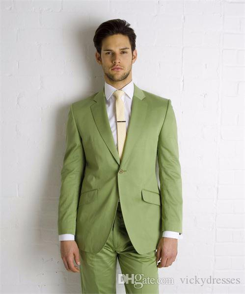 New Style Mens Suits Groomsmen Notch Lapel Groom Tuxedos Olive ...