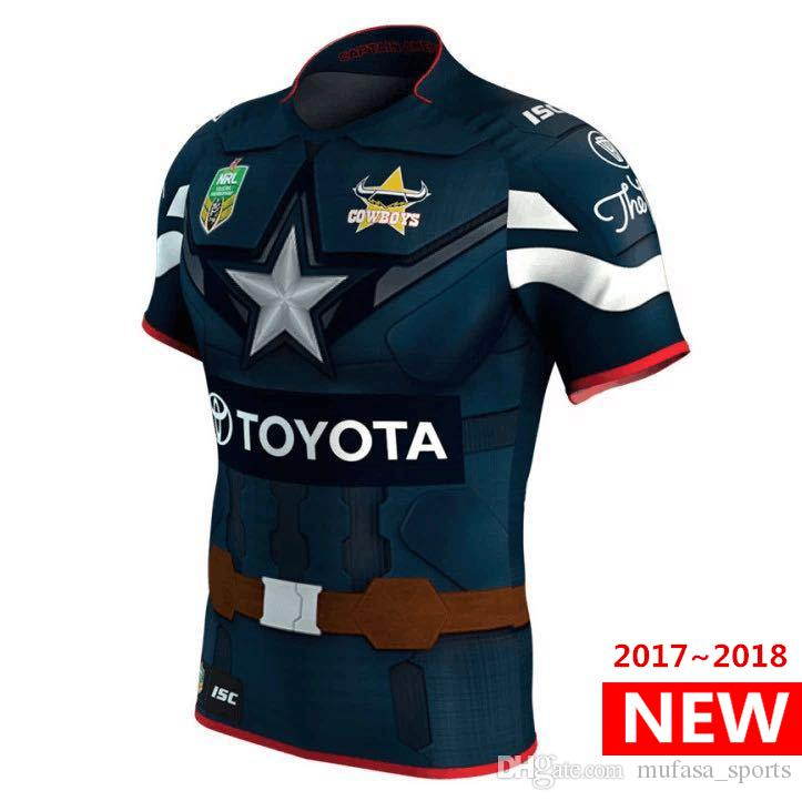 North Queensland Cowboys 2017 Marvel Captain America Jersey maillots de rugby ch
